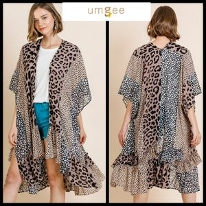 UMGEE Animal Print Open Front Long Kimono w/Ruffle
